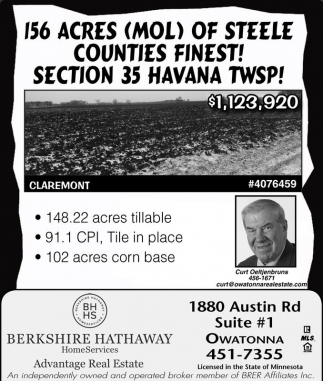 156 Acres (Mol) of Steele counties finest!