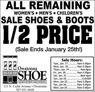 Ads For Owatonna Shoe Downtown Owatonna in Southern Minn