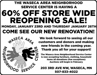 60% off store wide reopening sale, Waseca Area Neighborhood Service Center