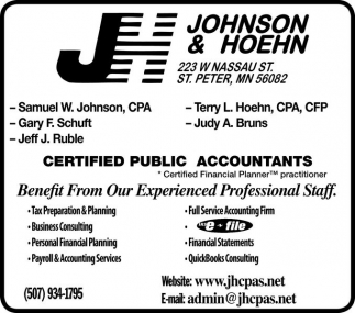 Certified Public Accountants, Johnson And Hoehn, Saint Peter, MN