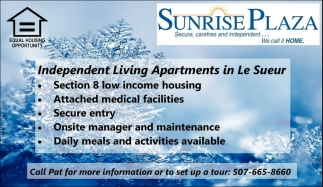 Independent Living Apartments in Le Sueur