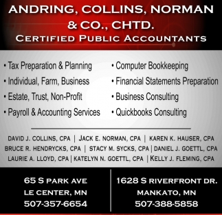 Ads For Andring, Collins, Norman and Co. CHTD in Southern Minn