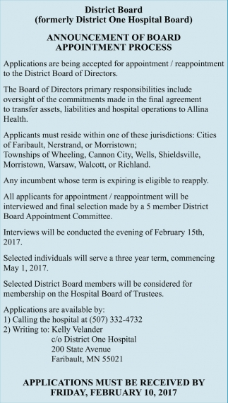 Announcement of Board Appointment Process Three Positions are Appointed Annually