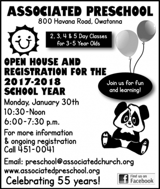 Open House and Registration for the 2017-2018 School Year, Associated Preschool