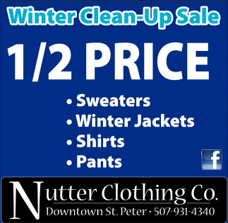 Winter Clean-Up Sale1/2 Price