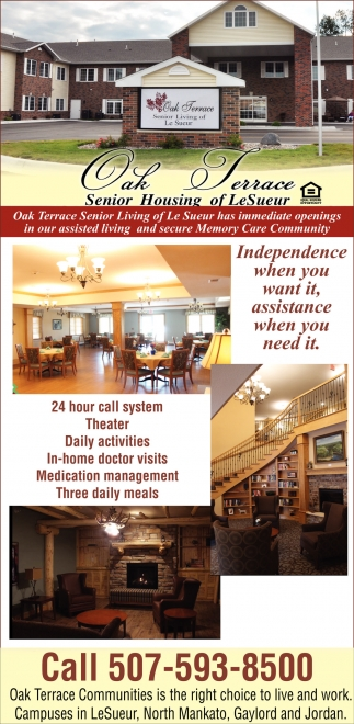 Independence when you want it, assistance when you need it, Oak Terrace Of Le Sueur, Le Sueur, MN