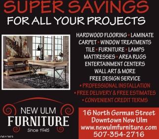 Hardwood Flooring, Laminate, Carpet, Winow Treatmets, Furniture