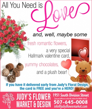 Fresh flowers, valentine card, chocolates, bears