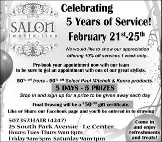 Celerating 5 Years of Service!, Salon Twenty-Five