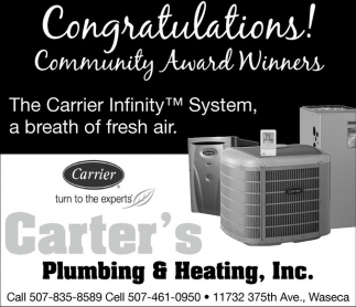 Congratulations! Community Award Winners, Carter's Plumbing And Heating, Inc, Waseca, MN