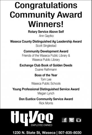 Congratulations Community Award Winners