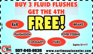 Buy 3 fluid flushes get the 4th Free!