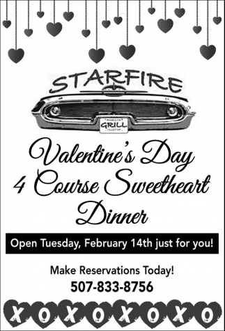 Valentine S Day 4 Course Sweetheart Dinner Starfire Restaurant