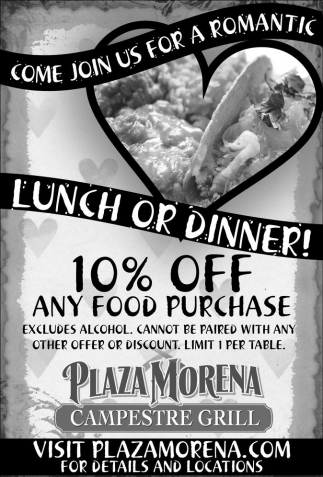 Come join us for a romantic lunch or dinner!