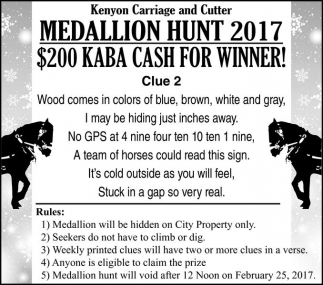 Medallion Hunt 2017