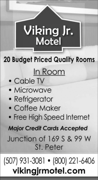 20 Budget Priced Quality Rooms, Viking Jr. Motel, Saint Peter, MN