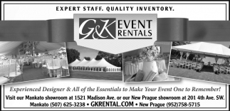 EXPERT STAFF. QUALITY INVENTORY., G And K Event Rentals, Mankato, MN