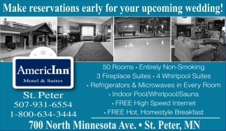 Make reservations early for your upcoming wedding!