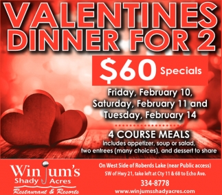 Valentines Dinner for 2 $60 Specials