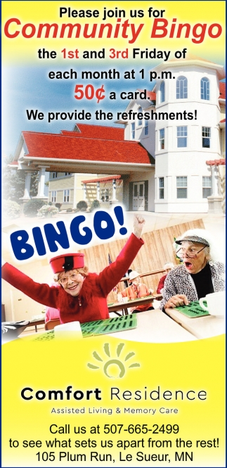 Community Bingo, Comfort Residence Assisted Living and Memory Care