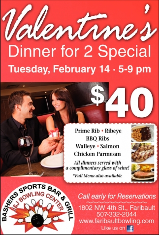 Valentine's Dinner for 2 Special