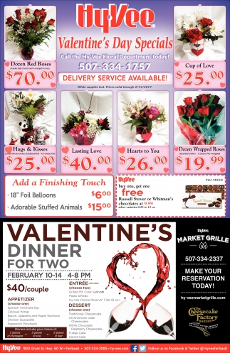 Valentine's Day Specials, Hy-vee Employee Owned, Owatonna, MN