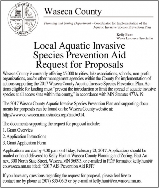 Local Aquatic Invasive Species Prevention Aid Request for Proposals