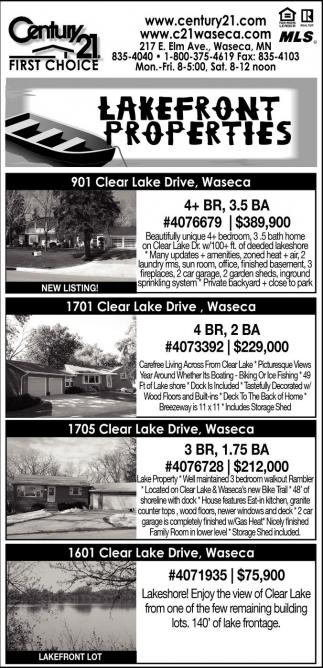 Lakefront Properties, Century 21, Waseca, MN
