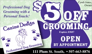 $5 off Grooming, Canine Design, Northfield, MN