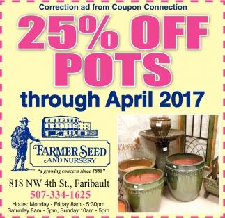 25% off pots