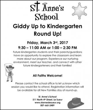 Giddy Up to Kindergarten Round Up!