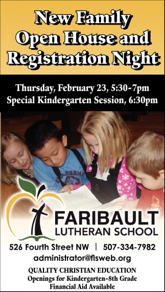 New Family Open House and Registration Night