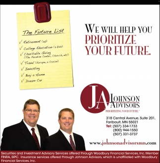 WE WILL HELP YOU PRIORITIZE YOUR FUTURE, Johnson Advisors, Faribault, MN