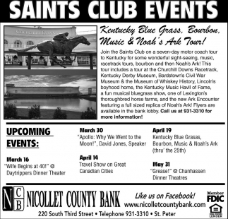 Saints Club Events, Nicollet County Bank, Saint Peter, MN