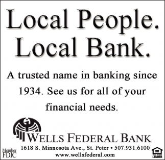 Local People. Local Bank., Wells Federal Bank, Wells, MN