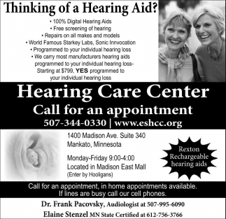Thinking of a Hearing Aid?, Hearing Care Center - Mankato