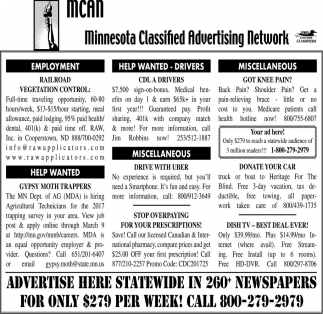 Advertise here statewide in 260+ newspapers for only $279 per week!, Minnesota Classified Advertising Network