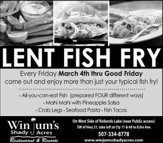 Lent Fish Fry Winjum S Shady Acres Faribault Mn
