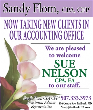 Welcome Sue Nelson