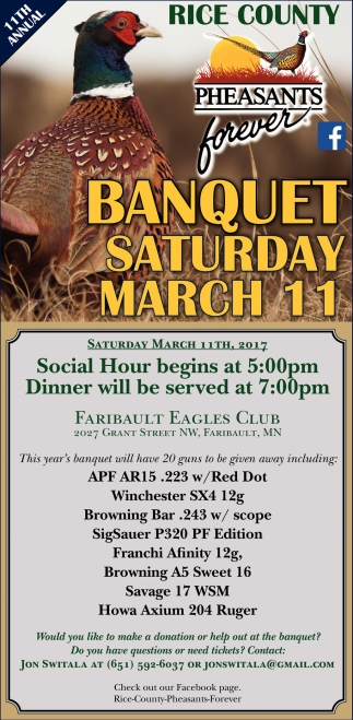 11th Annual Banquet Saturday March 11