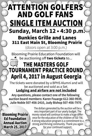 Sigle Item Auction, Blooming Prairie Ed Foudation Annual Auction