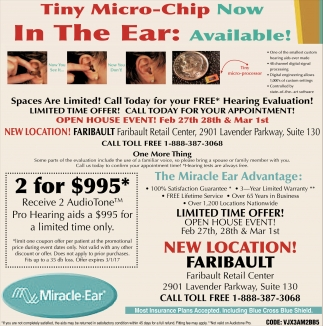 Tiny Micro-Chip in the ear Now Available