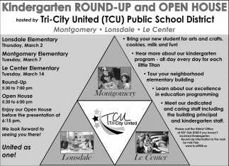 Kindergarten Round-Up and Open House, Tri-city United Public Schools, Montgomery, MN