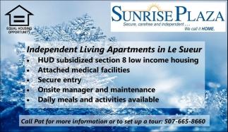 Independent Living Apartments in Le Sueur, Sunrise Plaza, Le Sueur, MN