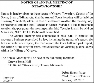 Notice of Annual Meeting of Ottawa Township, Town of Ottawa