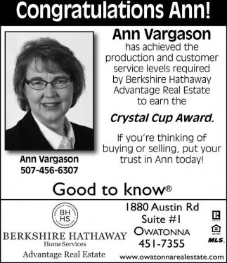 Congratulations Ann!