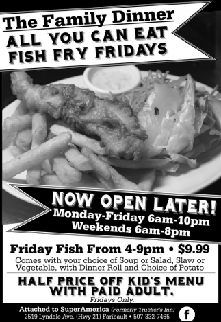 All you can eat fish fry fridays the family diner for All you can eat fish