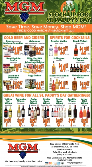 Stock up for St. Paddy's Day, MGM Wine and Spirits, Saint Paul, MN