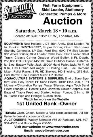 Fish Farm Equipment , Skid Loader, Stationary Generator, Pumps & More
