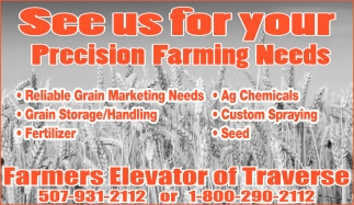 See us for your Precision Farming Needs, Farmers Elevator of Traverse, Saint Peter, MN